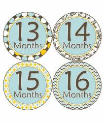 里和Riho 美國First Year *1-2歲專用*寶寶成長記錄妙衣貼 清新淺藍