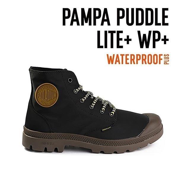 【南紡購物中心】【PALLADIUM】PAMPA PUDDLE LITE+WP 撞色系列-輕量雨傘布防水靴 / 黑 男鞋