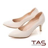 TAS質感素面羊皮曲線高跟鞋–質感米