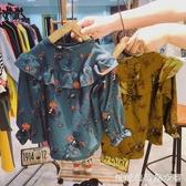 女童長袖襯衫-年秋季女童多層荷葉邊飛飛袖寶寶風復古碎花木耳邊立領襯衫 糖糖日系