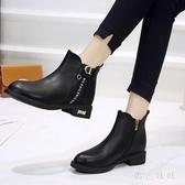 大碼短靴2020新款皮鞋秋冬季加絨馬丁靴女高跟百搭平底女靴 LF293『黑色妹妹』
