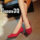 時尚百搭尖頭絨面細低女鞋-黑/紅/灰34-39【AAA0088】預購