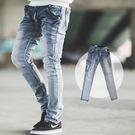 牛仔褲 漸層刷色口袋皮革彈性合身版牛仔褲...