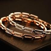 玫瑰金純銀手鍊 鑲鑽-清新氣質生日情人節禮物女手環 2色73bx26【巴黎精品】