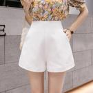 西裝褲 休閒褲女顯瘦百搭高腰寬管褲夏季時尚白色a字西裝短褲-Ballet朵朵