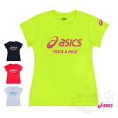 ASICS亞瑟士 女印花短袖T恤 (草綠) 吸汗速乾,抗紫外線 XT6383-05D【 胖媛的店 】