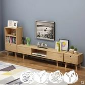 電視櫃  北歐日式電視櫃茶幾組合小戶型客廳實木電視機櫃簡約現代實木地櫃 愛丫愛丫