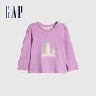 Gap女幼童 可愛印花圓領針織長袖T恤 649470-企鵝印花