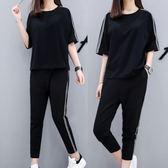 夏裝跑步短袖女韓版寬鬆顯瘦九分褲休閒運動兩件套     SQ7311『美鞋公社』