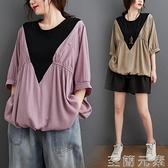 假兩件T恤 大碼女裝胖MM夏季新款韓版V領撞色拼接T恤女寬松蝙蝠袖假兩件上衣 至簡元素