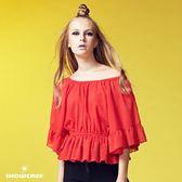 【SHOWCASE】毛絨點點荷葉袖寬領縮腰雪紡上衣(紅)