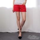 Victoria 中高腰棉麻色染短褲-女-紅色/水藍