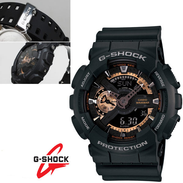 G-SHOCK GA-110RG-1A雙顯錶 黑色液晶玫瑰金+霧黑 霧黑橡膠 55mm 男錶 黑 GA-110RG-1ADR CASIO卡西歐 復古復刻