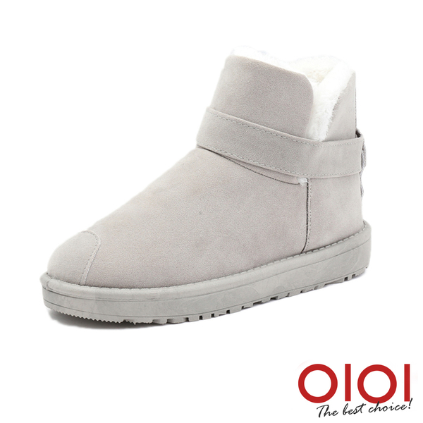 雪靴 冬戀序曲皮帶短筒雪靴(灰) *0101shoes【18-V-14gy】【現貨】