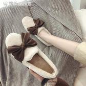 豆豆鞋 毛毛鞋女冬外穿韓版平底百搭加絨蝴蝶結豆豆鞋子女棉鞋女 繽紛創意家居