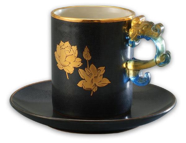 鹿港窯~陶瓷琉璃耳馬克杯系列【金邊天目荷花馬克杯】附精美包裝◆免運費送到家