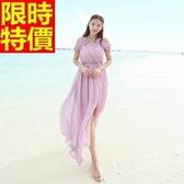 長洋裝-波希米亞風海島渡假純色氣質雪紡連身裙2色65af37【巴黎精品】
