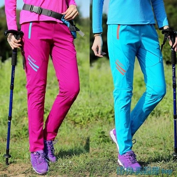 速乾褲 戶外速干褲女夏季薄款登山徒步大碼顯瘦彈力透氣快干褲運動長褲 快速出貨