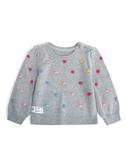 Gap 嬰兒女嬰 柔軟小球裝飾圓領針織衫 473964-麻灰色
