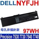 DELL NYFJH 6芯 電池 5TF10 GHXKY 0H6KV P34E001 P74F002 RY3F9 Precision 7530 7730 7540 7740 系列