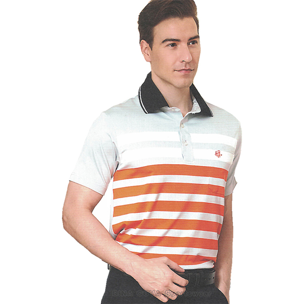 【SINA COVA】男女運動休閒吸濕排汗短POLO衫(橘灰條紋#S8110A)