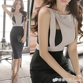 無袖洋裝 女裝時尚性感吊帶裙子名媛新款露背修身包臀開叉洋裝禮服夏 檸檬衣舍