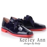 ★2018秋冬★Keeley Ann個性玩酷~視覺系拼接綁帶方頭低跟漆皮鞋(紫色) -Ann系列