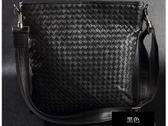真皮編織包-焦點手工皮革羊皮男肩背包 2色8c72【巴黎精品】