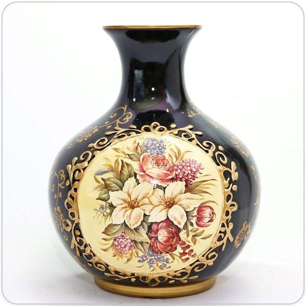 歐式復古黑色陶質燙金花紋花器/花瓶/擺飾/裝飾-高款【♘雅典娜家飾】