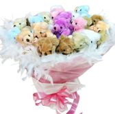 娃娃屋樂園~豪華(羽毛)-30枝可抽取式花束熊.金莎棒花束 每束1800元/第二次進場/婚禮花束