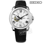 SEIKO 精工 / 4R39-00S0P.SSA373J1 / Premier 藍寶石水晶 機械錶 防水100米 牛皮手錶 銀白x黑 42mm