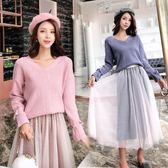 兩件式洋裝秋冬季新款法式女馬甲毛衣中長款針織連衣裙子過膝兩件套 Ic3822『毛菇小象』