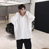 長袖襯衫-V領後背褶皺袖口抽繩男上衣2色73po5【巴黎精品】