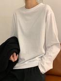 白色t恤2019韓版秋冬白t寬鬆長袖黑色打底衫百搭純色圓領上衣女潮