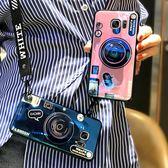 三星相機手機殼網紅鐳射藍光三星手機殼防摔帶掛繩男女款潮【不二雜貨】