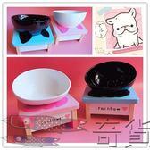 日本寵物斗牛碗防滑斜口陶瓷 狗碗貓碗食盆餐具飯桌泰迪法斗桌碗【奇貨居】