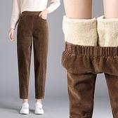 加絨寬鬆秋冬燈芯絨蘿卜褲高腰加厚條絨老爹奶奶哈倫褲女保暖褲子 貝芙莉