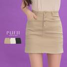 限量現貨◆PUFII-褲裙 四釦彈力素面...