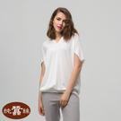 【岱妮蠶絲】素色中國風寬版飛鼠袖蠶絲上衣(白色)