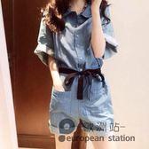 連身褲/夏裝新款女裝牛仔港味時尚氣質高腰短褲夏季洋氣闊腿褲女「歐洲站」