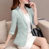 西裝外套 七分袖條紋小西裝女短款外套秋裝新款韓版修身休閒西服上衣 新年慶