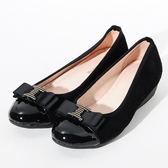 ★新品上市★GREEN PINE 蝴蝶結裝飾楔形鞋-黑色