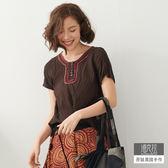 【潘克拉】撞色繡線領捲T-F TM687 FREE咖啡色