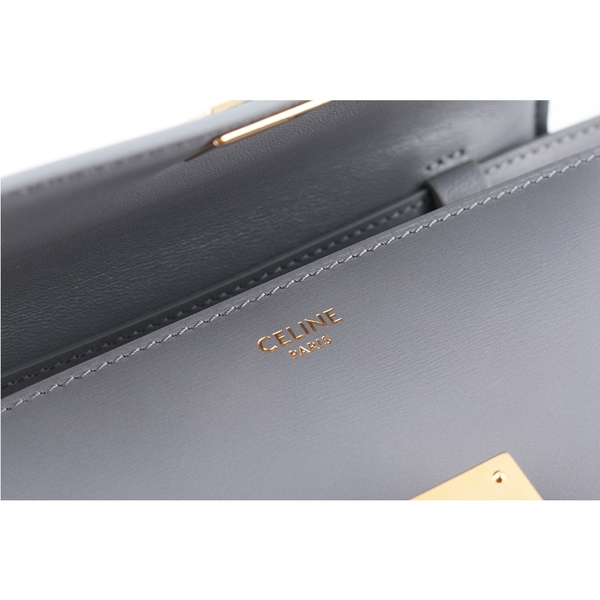 【CELINE】Classic Box 金釦牛皮側背包(淡炭灰色) 192523DLS.09LC