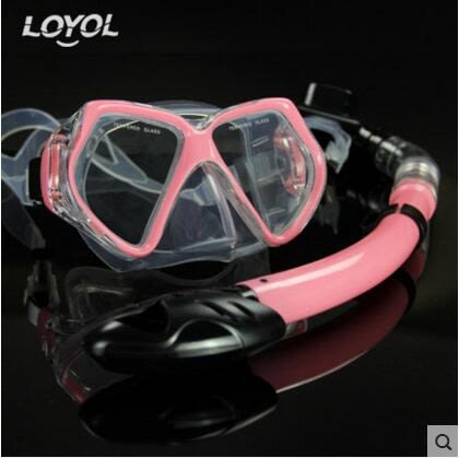 成人潛水鏡 浮潛三寶全乾式呼吸管套裝【粉紅款M1526+S14套裝】