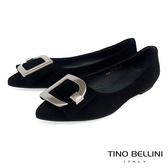 Tino Bellini質感羊麂皮G字釦尖頭平底娃娃鞋_黑 TF8587