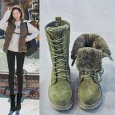 中筒靴女平底冬季短靴加絨棉靴戶外雪地靴馬丁靴 萬客居