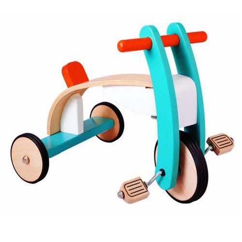 《PLAN TOYS》活動積木系列-木製腳踏車 PW03420