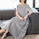 洋裝 真絲桑蠶絲棉麻亞麻洋裝子雙縐女裝2020新款夏天棉綢銅氨絲-Ballet朵朵