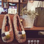 毛鞋 毛毛鞋套腳懶人鞋加絨棉瓢鞋圓頭淺口單鞋平底女鞋 蓓娜衣都